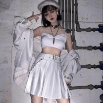skirt Summer 2020 S,M,L Black + BELT + chain, white + BELT + chain Short skirt Pleated skirt Type A