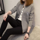Wool knitwear Spring of 2019 S L M XL XXL Red black blue gray Pink Long sleeves singleton  Cardigan other More than 95% Regular routine commute Self cultivation Low crew neck raglan sleeve letter zipper Korean version QBW424440448 18-24 years old A thousand kisses Epaulet zipper Other 100%