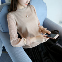 shirt Black rice white light coffee S M L XL XXL Spring of 2019 other 96% and above Long sleeves commute Regular Crew neck routine Solid color 18-24 years old Self cultivation A thousand kisses Korean version QBW172106318 Nail bead Other 100% Pure e-commerce (online only)