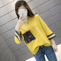 sweater Autumn of 2019 S M L XL XXL Yellow Black Lake Blue three quarter sleeve Socket singleton  Regular other 95% and above Crew neck Regular commute pagoda sleeve Solid color Straight cylinder Regular wool Keep warm and warm A thousand kisses HH12057331 Other 100% Pure e-commerce (online only)