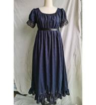 Dress Summer 2020 Off white, dark blue, pink, light grey blue M. L, s, custom longuette Short sleeve High waist puff sleeve S202011 cotton
