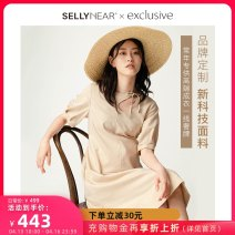 Dress SELLYNEAR Seashell S M L XL Europe and America Short sleeve Medium length summer Crew neck Solid color 2112L272
