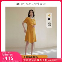 Dress SELLYNEAR Navy bright yellow S M L XL Europe and America Short sleeve routine spring Crew neck Solid color 2111L219