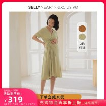 Dress SELLYNEAR Light green yellow S M L XL Europe and America Short sleeve Medium length summer V-neck Solid color 2112L263