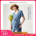 Dress SELLYNEAR blue S M L Europe and America Short sleeve routine summer V-neck Solid color