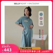 Home skirt SELLYNEAR Shanai green dream purple S M L Short sleeve summer Small lapel Thin money Simplicity Front buckle 2111L269
