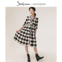 Dress SELLYNEAR black and white S M L Europe and America Long sleeves Medium length spring other lattice
