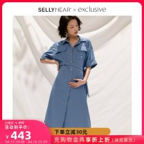 Dress SELLYNEAR Paris blue S M L XL Europe and America Short sleeve Medium length summer Lapel Solid color 2111L185