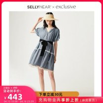 Dress SELLYNEAR blue S M L XL Europe and America Short sleeve routine summer V-neck other 2112L290