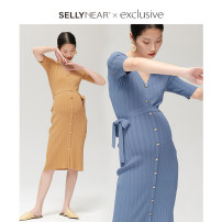 Dress SELLYNEAR S M L Europe and America Short sleeve routine spring V-neck Solid color