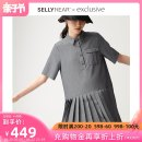 Dress SELLYNEAR grey S M L Europe and America Short sleeve routine summer Lapel Solid color 2112L278