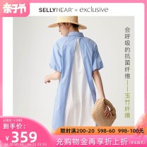 Dress SELLYNEAR Blue and white stripes S M L XL Europe and America Short sleeve routine summer Lapel stripe 2112L283