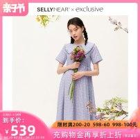 Dress SELLYNEAR Fairy purple S M L XL Europe and America Short sleeve routine summer Lapel lattice 2112L303