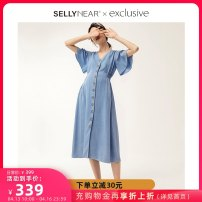 Dress SELLYNEAR Light blue (our European version size suggestion consulting customer service) mixed color printing (our European version size suggestion consulting customer service) S M L XL Europe and America Short sleeve Medium length summer V-neck Solid color 19L0316