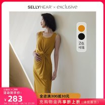 Dress SELLYNEAR Yellow black S M L XL Europe and America Sleeveless routine summer No collar Solid color