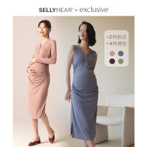 Dress SELLYNEAR S M L average code Europe and America Long sleeves Medium length autumn V-neck Solid color 2013L696
