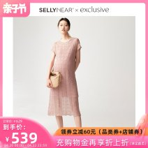 Dress SELLYNEAR Crystal powder S M L Europe and America Short sleeve routine summer Crew neck Solid color 2112L039