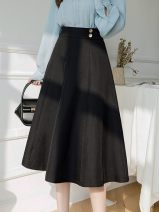 skirt Spring 2021 S,M,L,XL Black, apricot Mid length dress Versatile High waist A-line skirt Solid color Type A 30-34 years old GT401H - two thousand two hundred and twenty-five More than 95% other Other / other other Button 201g / m ^ 2 (including) - 250G / m ^ 2 (including)