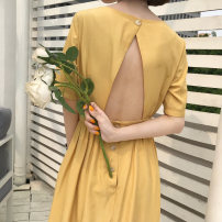 Dress Summer of 2018 Yellow apricot S M L longuette singleton  Short sleeve commute Crew neck High waist Solid color Socket A-line skirt routine Others 18-24 years old Type A Korean version Pleated open back button eight thousand one hundred and eighty-seven other