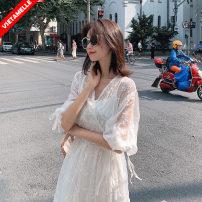 suit VSETAMELLE White two piece set M,L,XL,XXL Korean version summer routine Solid color VS-65230 nylon Cotton liner