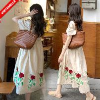 Dress VSETAMELLE Picture color M,L,XL,XXL Korean version Short sleeve Medium length summer Crew neck other nylon VS-02315