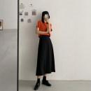 skirt Spring 2021 S,M,L black Mid length dress commute High waist A-line skirt Solid color Type A 71% (inclusive) - 80% (inclusive) cotton Frenulum Korean version