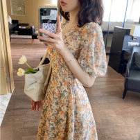 Women's large Spring 2021 S M L XL singleton  commute Short sleeve Korean version V-neck puff sleeve Homltiaml / hancho 25-29 years old longuette Other 100% Pure e-commerce (online only)