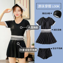 one piece  Zhuo Haozi Skirt one piece With chest pad without steel support Spandex polyester others Summer of 2018 no female Short sleeve Casual swimsuit Solid color others