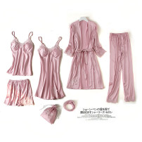 Pajamas / housewear set female Disraeli Polyester (polyester) Long sleeves sexy pajamas spring Thin money V-neck Solid color Ninth pants double-breasted youth rubber string More than 95% silk lace 260g Polyester 95% polyurethane elastic fiber (spandex) 5% Spring of 2019 Pure e-commerce (online only)