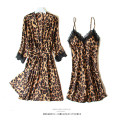 Pajamas / housewear set female Disraeli M (80-100 kg) l (100-120 kg) XL (120-140 kg) XXL (140-155 kg) Polyester (polyester) Nine point sleeve sexy pajamas summer Thin money V-neck Leopard Print double-breasted youth 2 pieces More than 95% silk printing 200g Summer of 2019 Short skirt