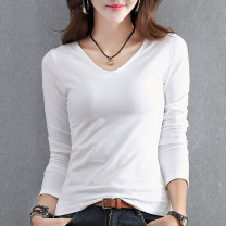 T-shirt White black S M L XL 2XL 3XL Spring of 2018 Long sleeves V-neck Self cultivation Regular routine commute cotton 86% (inclusive) -95% (inclusive) 18-24 years old Korean version originality Solid color Ingenious in meaning V-Neck long sleeve T-shirt Pure e-commerce (online only)