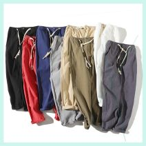 Casual pants Others Youth fashion Navy, khaki, light grey, army green, red, white, dark grey, black 2XL,M,4XL,5XL,L,XL,3XL Ninth pants Other leisure Self cultivation Micro bomb CQ8C7F summer youth tide 2018 Medium low back Cotton 100% Haren pants Solid color