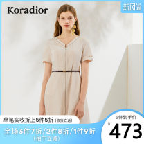 Dress Summer 2020 S M L XL XXL Middle-skirt singleton  Short sleeve commute V-neck middle-waisted Solid color Socket other routine Others 35-39 years old Koradior / coretti lady Splicing More than 95% other polyester fiber Polyester 100%