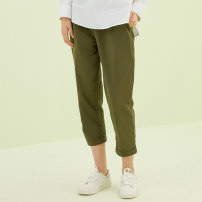 Casual pants Apricot 11 army green 57 155/62A 155/64A 160/66A 160/68A 165/72A 165/74A 170/76A 170/78A Spring of 2018 trousers Flared trousers Natural waist commute routine 25-29 years old 96% and above Ch'in Simplicity cotton Cotton 100%