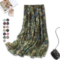 skirt Spring 2021 One size fits all dress Black, green, 200, 201, 202, 203, 204, 205, 206, 207, 208, 209, 210, 211, 212, 213, 214, 215, 193, 194, 196, 195, 198, 199, 192, 216, 217, 219, 220, 221, 222, 223, 224, 225, 226, Color 227, color 228 longuette Versatile Natural waist A-line skirt Type A CQX88
