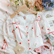 Dress Summer 2021 white S,M,L longuette singleton  Short sleeve Sweet One word collar High waist Solid color other other routine Others 25-29 years old Type A Bows, embroidery 30% and below other princess