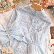 Dress Winter 2020 blue S,M,L Short skirt singleton  Long sleeves commute stand collar High waist Solid color Socket Lotus leaf sleeve 25-29 years old lady Lace