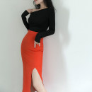 skirt Autumn 2020 XS,S,M,L,XL Black, orange, orange tweed pattern longuette commute High waist skirt Solid color Type H 25-29 years old 20087A 51% (inclusive) - 70% (inclusive) other BLACK MAYI polyester fiber zipper Ol style