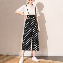 Casual pants black S M L XL XXL Summer 2021 Cropped Trousers Wide leg pants High waist original ultrathin 40-49 years old 96% and above 0415KDD2635 Tiiwgjiy / listen to yourself Three dimensional cutting polyester fiber Polyester 100% Pure e-commerce (online only) Asymmetry