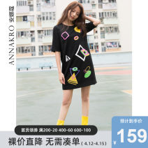 Dress Autumn of 2018 Flower black 2/S 3/M 4/L 5/XL Mid length dress singleton  elbow sleeve commute Crew neck middle-waisted Abstract pattern Socket other routine Others 25-29 years old Type H Annakro / annakro Korean version 30% and below other nylon