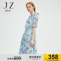 Dress Summer 2020 Flower light blue XS S M L XL 2XL 3XL 4XL Mid length dress singleton  Short sleeve commute other High waist Broken flowers Socket other routine Others 30-34 years old Type X Jiuzi lady Embroidery JTAX50028 More than 95% other polyester fiber Polyester 100%