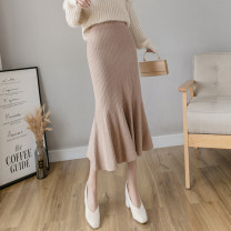 skirt Spring 2021 Average size Gray, khaki, black, apricot Mid length dress commute High waist Ruffle Skirt Solid color Type A 25-29 years old 51% (inclusive) - 70% (inclusive) knitting nylon Ruffles, folds, waves lady