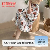 skirt Summer 2020 S M L white Mid length dress High waist Type A OM81534 More than 95% Hstyle / handu clothing house polyester fiber Polyester 100%