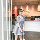 Dress Summer 2021 White, gray S,M,L,XL,2XL Short skirt singleton  Short sleeve middle-waisted Socket routine 18-24 years old CINISIOR 31% (inclusive) - 50% (inclusive) cotton