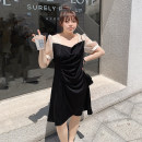 Women's large Spring 2021, summer 2021, autumn 2021 Classic black One, two, three, four, five Dress singleton  commute moderate Socket Short sleeve Korean version Three dimensional cutting xiaolidama 25-29 years old Middle-skirt
