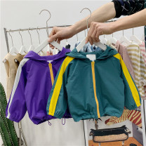 Plain coat Other / other neutral 80cm,90cm,100cm,110cm,120cm Green (in stock), purple (in stock), green (for a week), purple (for a week) spring and autumn Korean version No model routine No detachable cap Solid color cotton Crew neck K91069 Class B