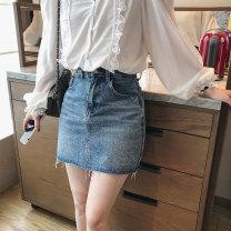 skirt Summer 2021 S,M,L,XL blue Short skirt Versatile High waist A-line skirt Solid color Type A 51% (inclusive) - 70% (inclusive)