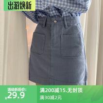 skirt Spring 2020 S,M,L,XL,2XL,3XL,4XL,5XL Light purple, black, apricot, black 2735, white 2735, apricot 2735, purple 2735 Short skirt Versatile High waist A-line skirt Solid color Type A 18-24 years old F3119 51% (inclusive) - 70% (inclusive) Denim JSWETR cotton Pockets, rags, buttons, zippers