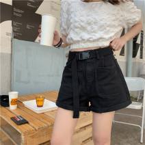 Jeans Summer 2020 black S,M,L,XL,2XL,3XL,4XL,5XL shorts High waist Wide legged trousers routine 18-24 years old Wash, zipper, button, multi pocket Cotton denim Dark color Q8112 JSWETR 51% (inclusive) - 70% (inclusive)