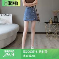 skirt Summer 2020 S,M,L,XL,2XL,3XL,4XL,5XL Blue, black Short skirt commute High waist A-line skirt Solid color Type A 18-24 years old 51% (inclusive) - 70% (inclusive) Denim cotton Pocket, button, zipper Korean version
